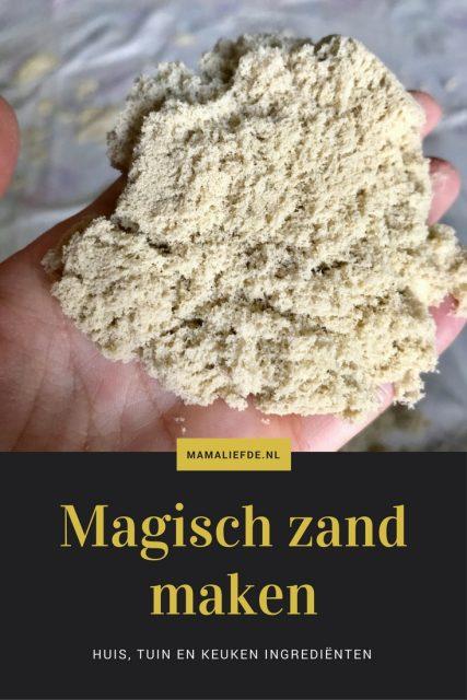 Met deze diy kan je eenvoudig aan de slag om kinetisch zand / magisch zand zelf te maken. Met eenvoudige huis, tuin en keuken ingrediënten zoals maizena - Mamaliefde.nl