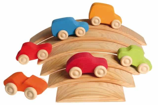 Grimm's 6 gekleurde houten auto's - Mamaliefde