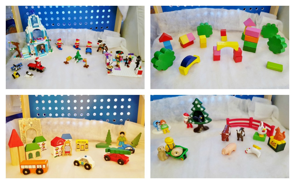 Kerstdorp; voorbeelden zelf kindvriendelijk kerstdorp bouwen met speelgoed. Oa van Playmobil, lego, blokken en meer. - Mamaliefde.nl