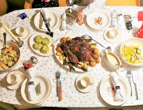 Traditioneel kerstdiner met een gevulde kalkoen!