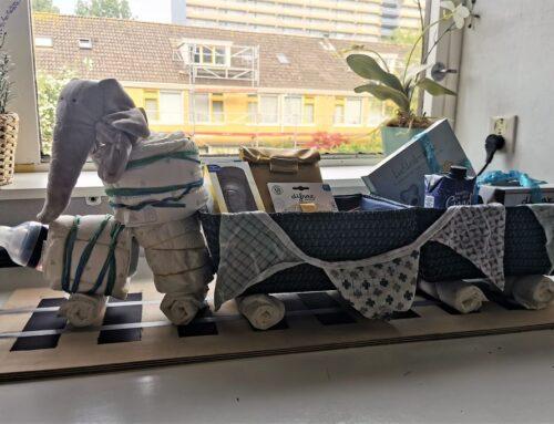 DIY Luiertaart /kraammand in treinvorm